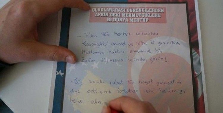 Uluslararası öğrencilerden Mehmetçiğe 'Bi Dünya' mektup