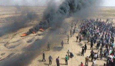 Gazze sınırındaki gösteriler drone ile görüntülendi