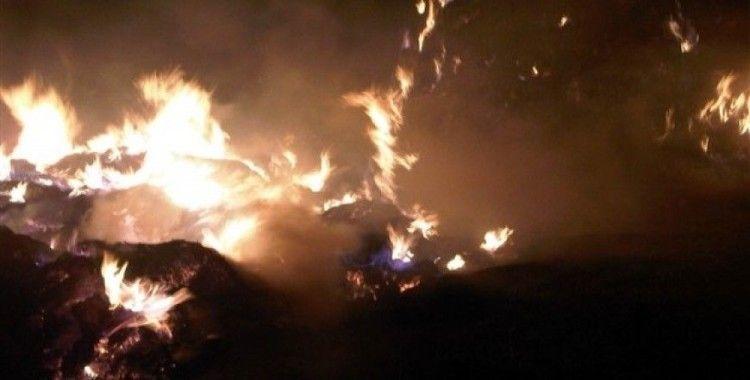 Horasan'da ot yangını