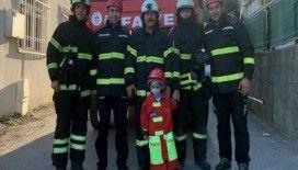 Lösemi hastası Ahmet Eren'in itfaiyecilik hayali gerçek oldu