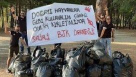 Piknikçiler kirletti 'Beşiktaşlı taraftarlar' temizledi