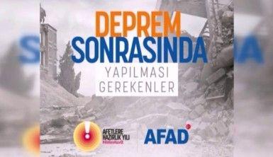 AFAD deprem sonrasında yapılması gerekenleri paylaştı