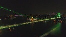 Yeşile bürünen FSM Köprüsü havadan görüntülendi