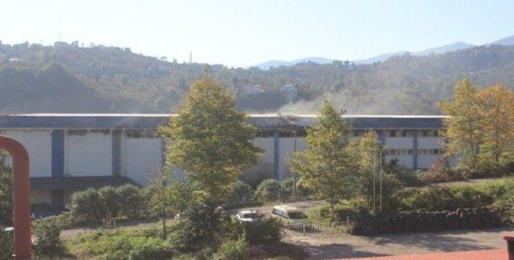 Giresun'daki fındık fabrikası yangını