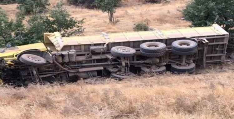Park halindeki kamyon şarampole yuvarlandı