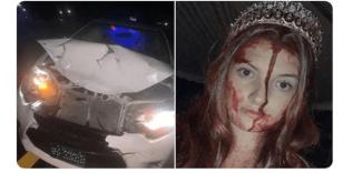 Kostümüyle kaza yapınca öldü sandılar