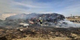 Susuz'da 40 ton ot yandı