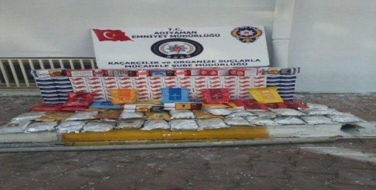 Kaçak nargile tütünleri ile makaronlar ele geçirildi