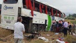 Yolcu otobüsü şarampole yuvarlandı