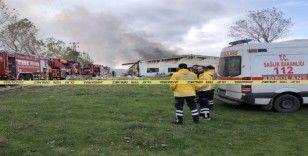 Çatalca'da korkutan fabrika yangını havadan görüntülendi