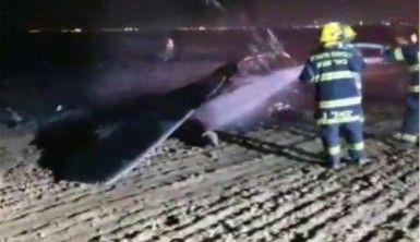 Askeri helikopter alev alev yandı