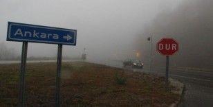 Bolu dağında yağış ve sis hakim oluyor