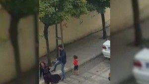 Sokak ortasında kadına şiddet kamerada