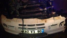 Başkent'te takla atan otomobilin sürücüsünün kolu koptu