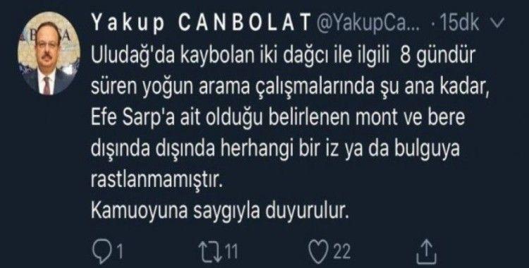 """Bursa Valisi Canbolat'tan """"ceset bulundu"""" iddialarına ilişkin açıklama"""