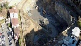 Taş Yapı'nın üç yıldır bitmeyen temel kazma çalışması havadan görüntülendi
