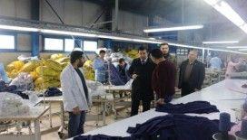 Kaymakam Köleoğolu, tekstil fabrikasını ziyaret etti