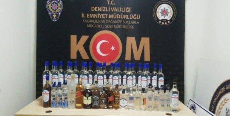 Denizli'de 131 şişe kaçak içki ve 256 litre sahte alkol ele geçirildi