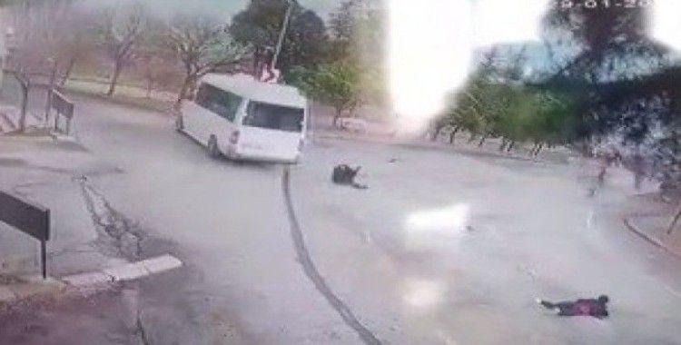 Freni boşalan minibüsten atlayan kadın hastanede yaşam mücadelesi veriyor