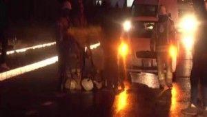 Yangına müdahale eden itfaiye erine araba çarptı