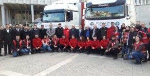 Depremzedelere Zonguldak'tan dört tır yardım gönderildi