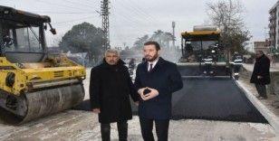 Soğuk havada sıcak asfalt çalışması