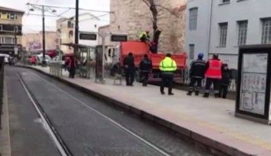 Gülhane'de ağaç devrilmesi nedeniyle tramvay seferleri aksadı