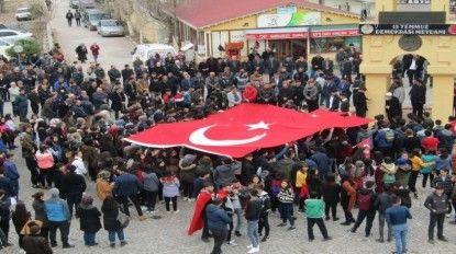 Şehitlere saygı, hain saldırıya tepki yürüyüşü yapıldı