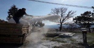 Su depoları ilçalandı esnafların işyerleri dezenfekte edildi