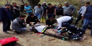 Seydikemer'de devrilen forkliftin operatörü  yaralandı