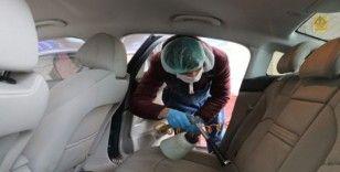 Araçlarını Koronavirüse karşı  ozonla temizliyorlar