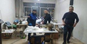 Bursa'da merdiven altı maske üretiimne şok baskın