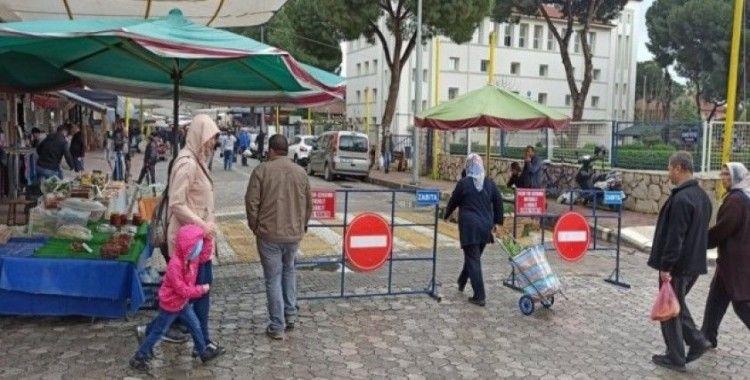 Ödemiş Pazarı'nda korona önlemleri