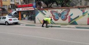 Bursa'da trafik polisinden örnek davranış