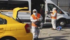 (Özel) Semt pazarı taksi ve servis araçları için dezenfekte istasyonuna dönüştürüldü