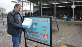 Havza'da pazar yerlerinde el dezenfektan noktaları oluşturuldu