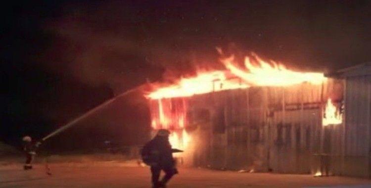Mobilya atölyesinde patlama sonrası korkutan yangın