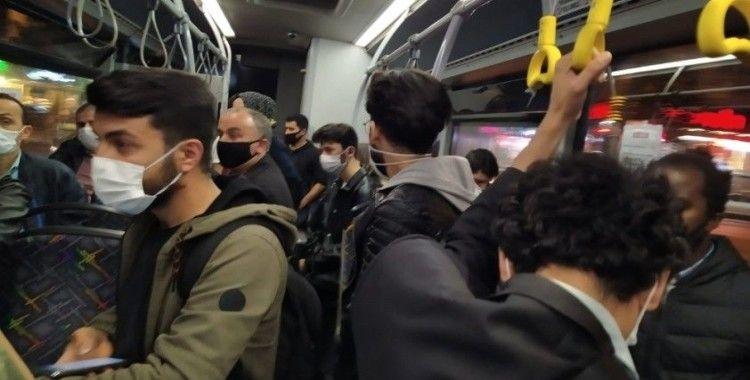 Halk otobüsünde kalabalık tartışması