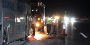 TEM Otoyolu'nda otobüs yangını