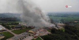 Fabrika yangını havadan görüntülendi