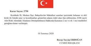 Cumhurbaşkanı Erdoğan'ın imzasıyla Kırıkkale'deki bir alan riskli bölge ilan edildi