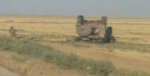 Suriye'de ABD'nin askeri aracı devrildi