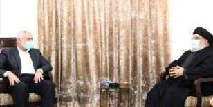 Hamas lideri Heniyye ile Nasrallah Beyrut'ta bir araya geldi
