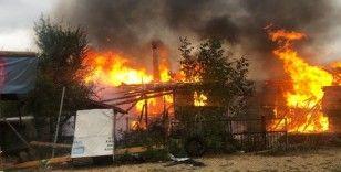 Karabük'te köy yangınında 2 katlı ev ve ambar alevlere teslim oldu
