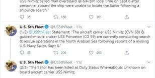 ABD donanması, Umman Denizi'nde kaybolan personeli arıyor