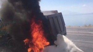 Isınan fren balataları yangına neden oldu
