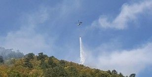 Karabük'teki orman yangınına uçak ve helikopterle müdahale ediliyor