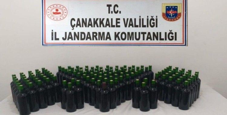 Gökçeada'da 105 litre kaçak içki ele geçirildi