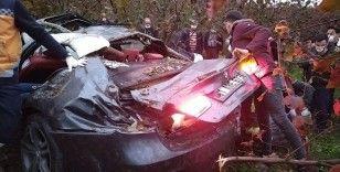 Düzce'de otomobil fındık bahçesine uçtu: 4 yaralı