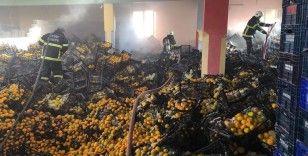 Depodaki yangında 10 ton mandalina zarar gördü